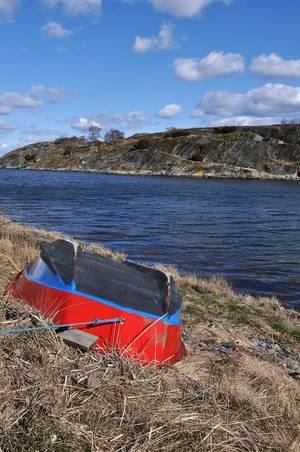 Rot-blauer Ruderboot am Ufer