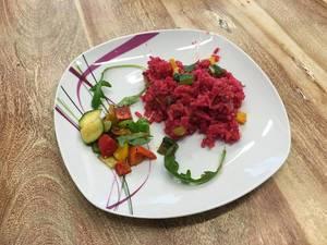 Rote-Beete-Risotto mit Gemüse
