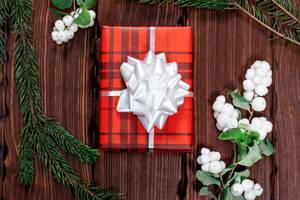 Rotes Weihnachtsgeschenk mit weißer Schleife umgeben vom Mistelzweigen