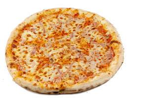 Round Fresh Pizza on the white background (Flip 2019)