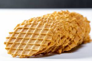 Round waffles without stuffing closeup