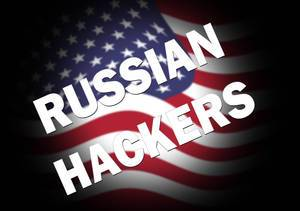 Russian hackers text over USA flag