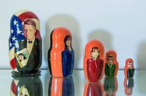 Russian nesting dolls with famous people on it