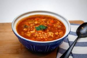 Rustic Barley Soup Close-Up