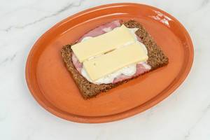 Rye Bread with Pork Neck and Cheese on the plate