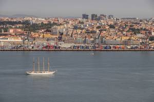 Sailboat with Lisbon background