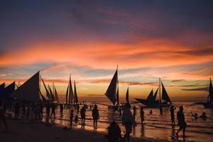 Sailboats docked during golden hour at Boracay (Flip 2019)
