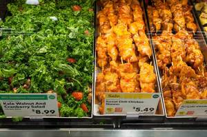 Salad and Teriyaki Chicken in Whole Food Market Boston