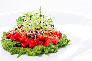 Salad layers with fresh vegetables and onion seed sprouts. Vegetarian and healthy food (Flip 2019)