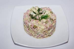 Salad olivier on a plate