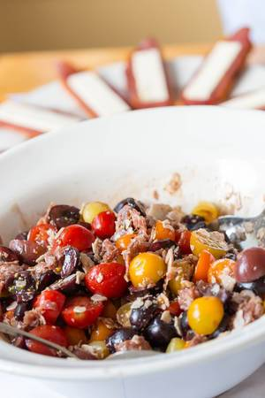 Salad wiht Tomatoes, Cherries, Salami and Cheese