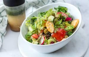 Salad with tomato, Radish, Olive and Celery
