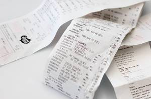 Sales receipt / checks after supermarket shopping