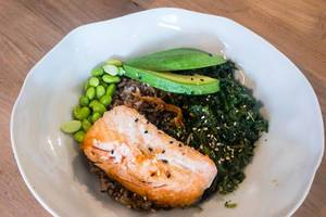 Salmon (sustainable fishing), whole grain wild rice, sesame-spinach, avocado, edamame, home-made teriyaki sauce