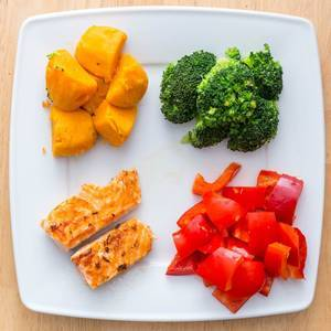Salmon with Broccoli, Peppers and Sweet Potato