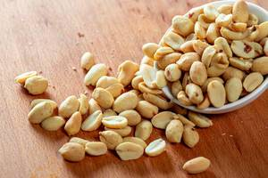 Salted roasted peanuts in a bowl