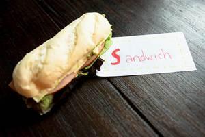 SANDWICH lable beside a sandwich