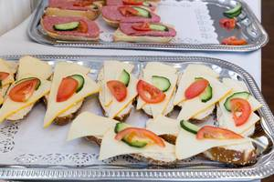 Sandwiches with cheese, tomato and cucumber