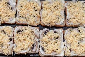 Sandwiches with slices of mushrooms, sauce and cheese (Flip 2019)