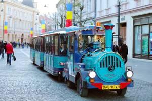 Santa Claus train for kids at Sibiu Christmas market, Romania (Flip 2019)