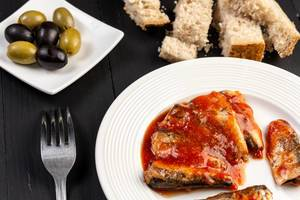 Sardines Fish in tomato sauce with Olives