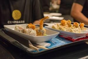 Scampi Crevetten mit Reis und Sesam