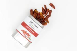 Scharfes Gewürz Birdseyechilis von Spicebar - Gemüseküche in offener Blechdose enthält scharfe Chilischoten mit 140.000 Scoville in Bioqualität