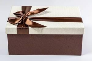 Schicker Geschenkkarton mit brauner, glänzender Schleife vor weißem Hintergrund