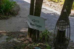 Schild weist Richtung zum Ros Lepa Wanderweg auf Mahé, Seychellen