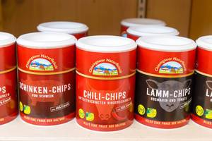 Schinken-Chips, Chili-Chips und Lamm-Chips