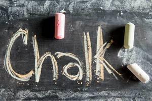 Schreiben mit Kreide auf einer Kreidetafel