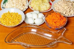 Schüsseln und Teller mit Mais, Eiern, geriebenen Karotten, Kohl, Käse und Thunfisch auf einem Tisch