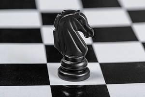 Schwarzes Pferd Schachfigur auf dem Schachbrett Hintergrund
