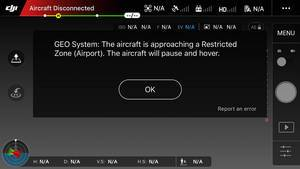 Screenshot DJI GO App mit Restricted Zone Fehlermeldung