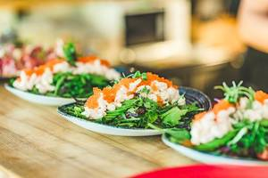 Seafood Salad With Salmon Cream and Fish eggs