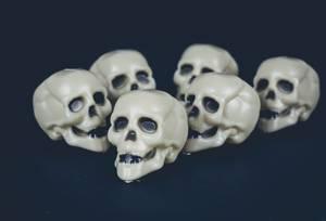Sechs Mini Schädel auf schwarzem Hintergrund