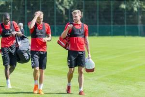 Sehrou Guirassy, Marcel Risse und Jannes Horn beim Training am 25.06.2018