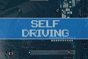 Self driving text over electronic circuit board background