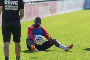 Serhou Guirassy sitzt auf dem Rasen