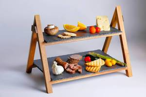 Servierplatten aus Holz und Schieferstein, zum Anrichten von Essen