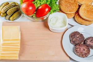 Set of ingredients for cooking burgers at home