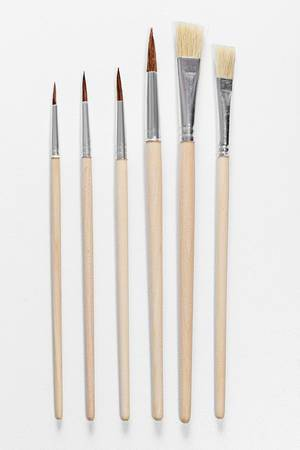 Set paint brushes on white background