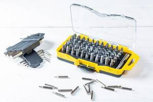 Sets of screwdriver bits-heads, tips, on white background