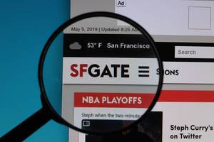 SFGate logo under magnifying glass