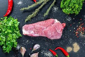 Sicht von oben auf rohes Schweinefleisch, umrahmt von Kochzutaten wie Knoblauch, scharfer Chili, grünen Kräutern, Salz und Pfeffer