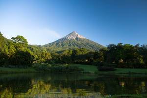Sight of Volcan de Fuego from a lake