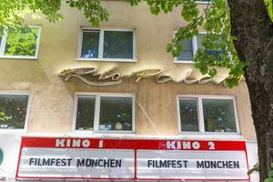 Sign advertises Munich Filmfestival at the wall of the cinema Rio Filmpalast