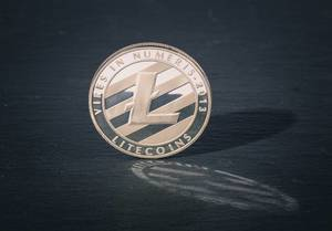 Silver Litecoin on a black background