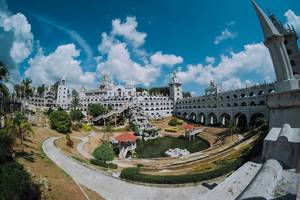 Simala church in a fisheye view