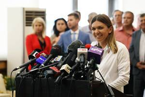 Simona Halep after winning the Wimbedon tournament, press conference in Bucharest, Romania